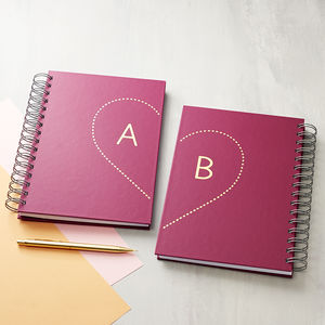 Love Initials Hardback Notebook Pair - valentine's gifts for her