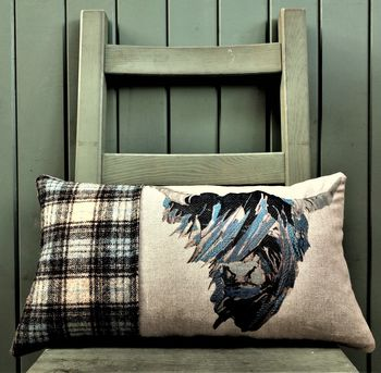 Highland Cow Tweed And Linen Cushion