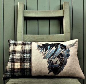 Highland Cow Tweed And Linen Cushion - cushions