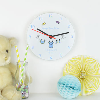Personalised New Baby Boy Clock