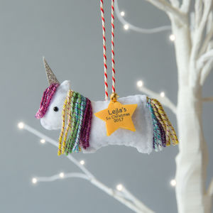 Rainbow Unicorn Personalised Christmas Tree Decoration
