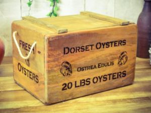 Lovely Vintage Antiqued Wooden Box Crate Dorset Oysters