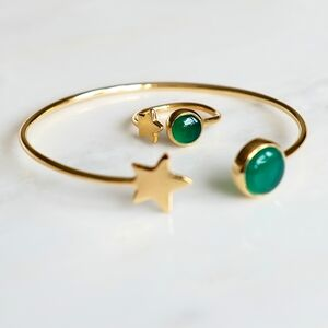 Gold Star And Emerald Birthstone Bangle And Ring Set
