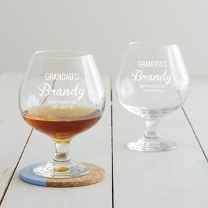 Personalised Brandy Glass For Grandad - summer sale