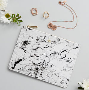 Personalised Monogram Marble Leather Pouch - gifts for friends