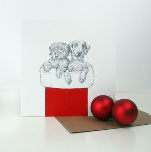 Illustrated Dachshund Friends Christmas Card