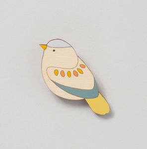 Garden Warbler Wooden Bird Brooch - pins & brooches