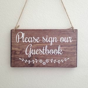 Please Sign Our Guestbook Handmade Wooden Wedding Sign