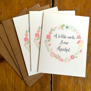 Set Of Three Flower Circle Personalised Notelets - notelets