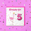Children's Glitter Flamingo Birthday Age Card