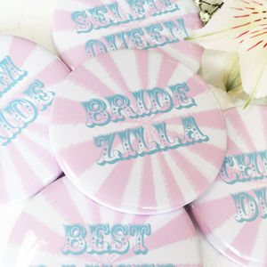 Pink Circus Stripe Funny Caption Hen Party Badges - new in jewellery