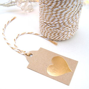 Christmas Gift Tags Gold Heart Six Pack