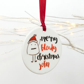 Merry Bloody Christmas Personalised Tree Decoration