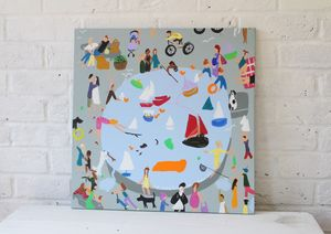 'The Boating Pond' Original Painting On Canvas - people & portraits