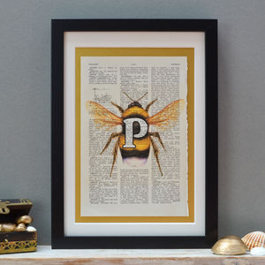 Personalised Bee Letter Print