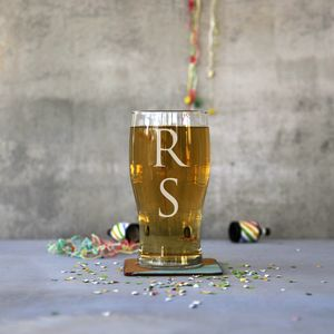 Personalised Monogram Pint Glass - 18th birthday gifts