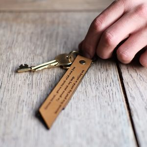 Engraved Leather Keychain - keyrings