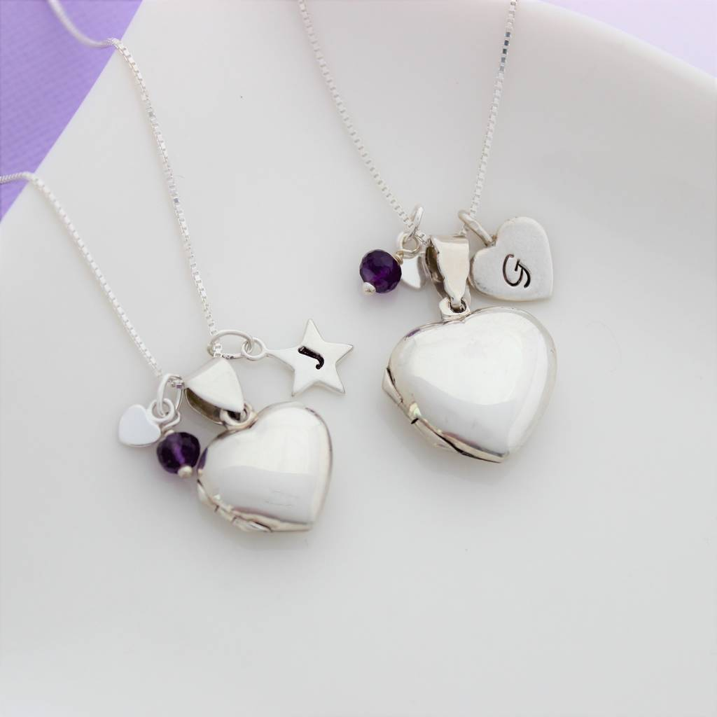 lockets heart amethyst pin pinterest silver locket