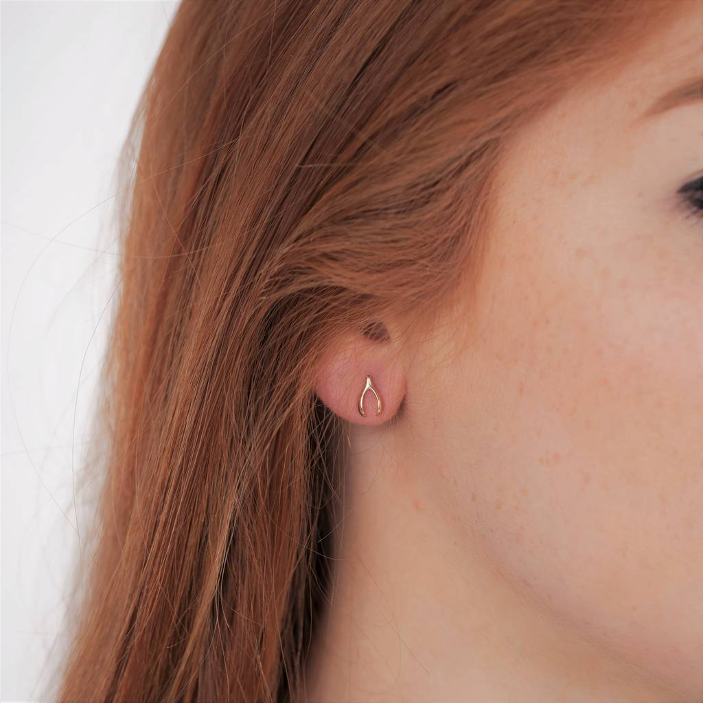 Gold Wishbone Stud Earring By Peony Love Notonthehighstreet