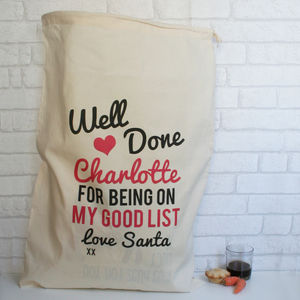 Personalised Cotton Christmas Sack Good List - stockings & sacks