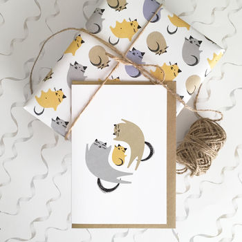 Yellow kitten newborn card