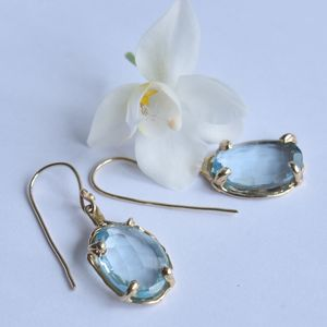 Earrings 18ct Gold, Blue Topaz And White Diamonds - earrings
