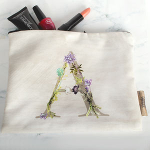 Personalised Wash Bag With Botanical Inspired Lettering - make-up bags