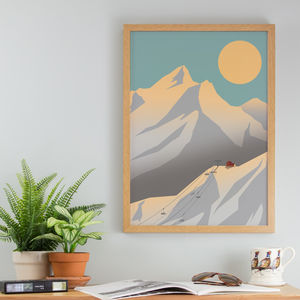 Autumn Mountains Skiing Art Print A3 A4 Size - posters & prints