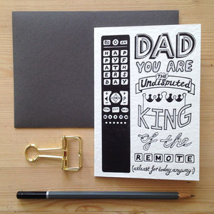 'King Of The Remote' Father's Day Letterpress Card - father's day cards
