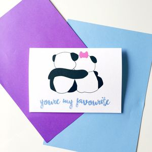 Cute 'You're My Favourite' Panda Hug Card - shop by category