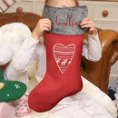 Personalised Set Of Five Nordic Heart Stockings