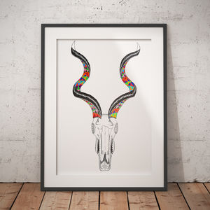 Kudu Skull African Illustration And Pattern Print