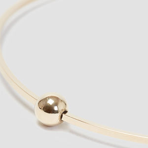Gold Square Bangle With Moving Bead - bracelets & bangles