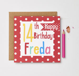 Girls Personalised Birthday Card