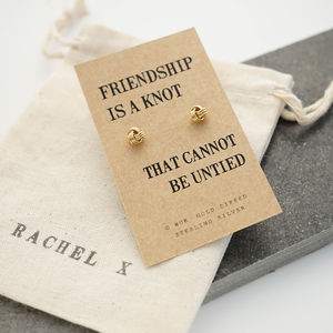 Friendship Knot Gold Earrings - earrings