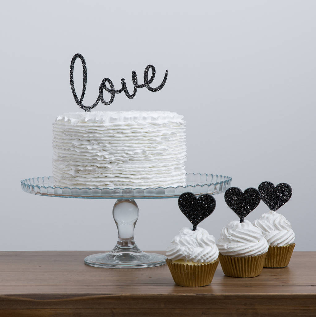 Large Slanted Love Word Cake Topper And Cup Cake Set