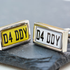 Personalised Car Number Plate Cufflinks - cufflinks