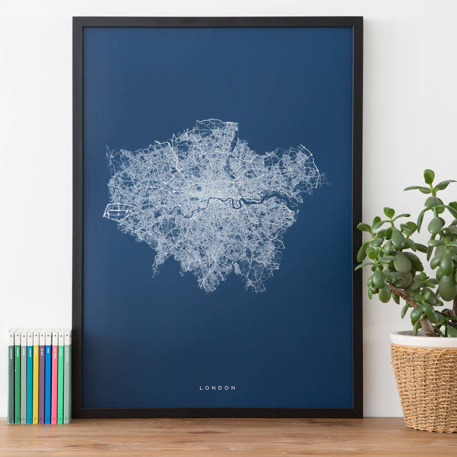 London Roads And Paths Contemporary Map Print