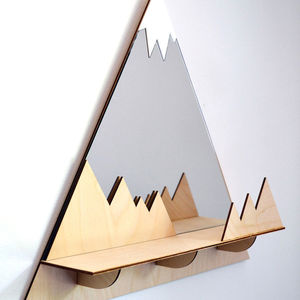 Mountain Peak Decorative Mirror And Shelf