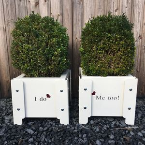 'I Do… Me Too' Metal Wedding Planters