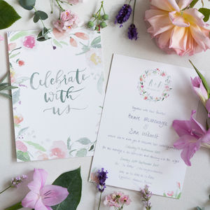 Summer's Bloom Floral Watercolour Wedding Stationery - order of service & programs