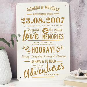 Personalised Anniversary Metal Type Print - personalised