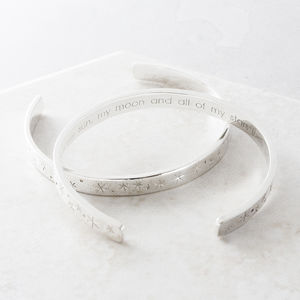 Personalised Stars Silver Bangle - 21st birthday gifts