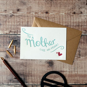 'To A Mother Like No Other' Letterpress Card