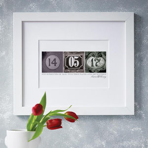 Personalised Date Art Print - dates & special occasions