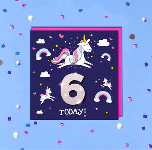 Children's Glitter Unicorn Birthday Age Card