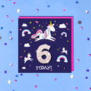 Personalised Unicorn Kids Age Birthday Card