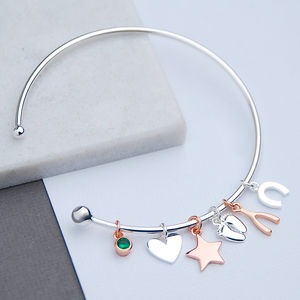 Rose Gold And Silver Friends Charm Bangle