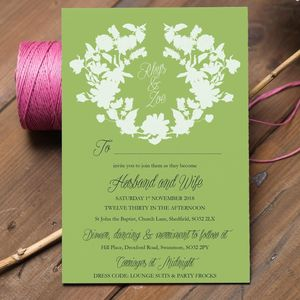 Green Wedding Invitation With Flower Garland - invitations