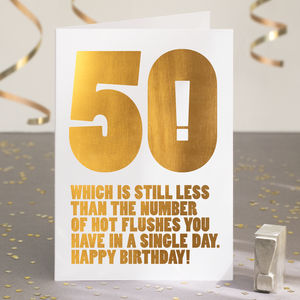 Funny 50th Birthday Card In Gold Foil